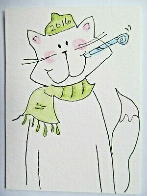 ACEO Original Watercolor White Cat Happy 2016 New Year Signed by Artist MiloLee