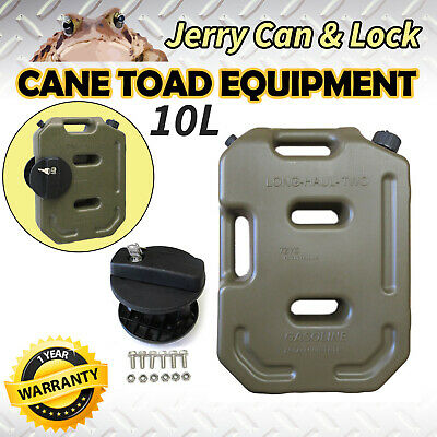10L Jerry Can Fuel Container Army Green With Holder Heavy Duty Spare Petrol Cont