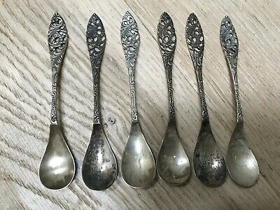 Antique Victorian Sterling Demitasse Spoons Hallmarked Hand Wrought Repousse Six