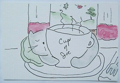 ACEO Original Watercolor Cat Staying Warm Tabby Coffee Cup of Joe by MiloLee