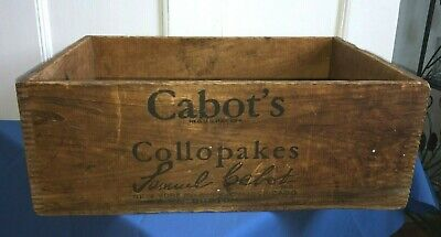 Cabot's Collopakes Wooden Crate PAINT Advertising Shipping Box RARE Dovetail