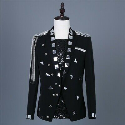 Men's One Button Glitter Tassels Blazer Slim Fit Costume Dress Jackets Party Bar