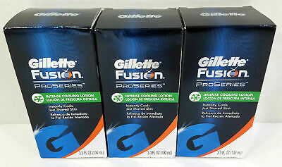 Lot of 3 Gillette Fusion ProSeries Intense Cooling Lotion 3.3 fl oz / 100 mL NEW