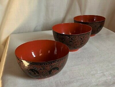 Chinese Paper mache' vintage bowls. Red laquer. Finely hand decorated.