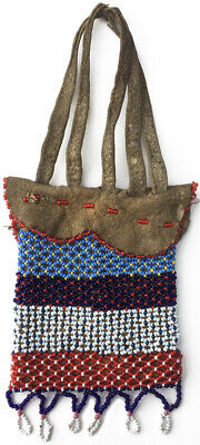 Early 1900s Meskwaki Loom-Beaded Native Tanned Leather Puzzle Bag