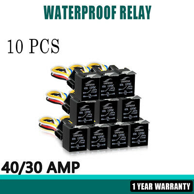 HQ 10x Waterproof 5PIN SPDT 40/30 AMP 12V DC Wiring Harness Socket Relays