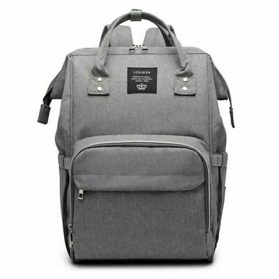 LEQUEEN Mummy Bag Backpack Maternity Baby Diaper Large Capacity Changing GRAY