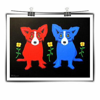 Animal Cartoon Blue Dog Art Painting HD Print Canvas Home Wall Art Decor 12x16