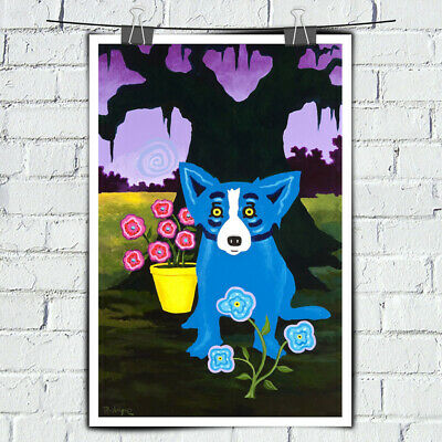 Cartoon Animal Blue Dog Art Painting HD Print Canvas Home Wall Art Decor 14x22