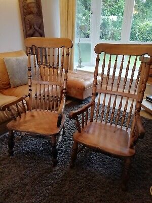 Pair Of Antique Victorian Elm Grandfather farmhouse Chairs