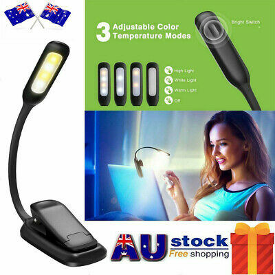 7 LED Reading Book Desk Light Rechargeable 3-level Brightness Clip On Xmas Gift