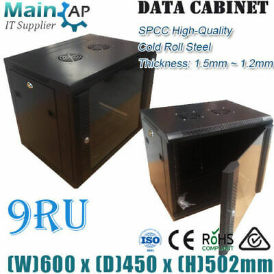 "9RU 19"" 600x450mm WALL MOUNT SERVER DATA CABINET NETWORK RACK HOME THEATER BOX"