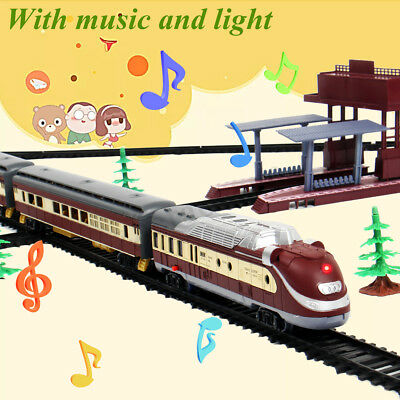 Large Electric Classic Train RAIL Vehicle Kid Toy Set Track Operated Carriage