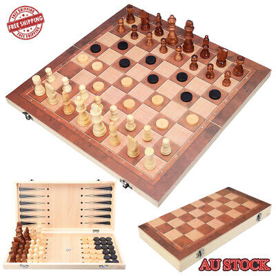 40*40cm Large Chess Wooden Set Folding Chessboard Wood Board Kids Game 3 in 1