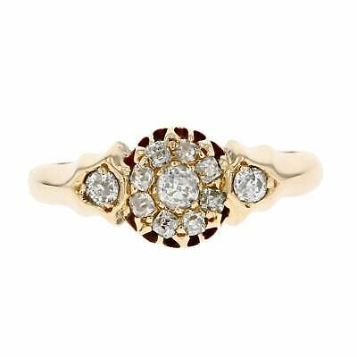 Victorian Antique 18ct Yellow Gold Victorian Diamond Cluster 1897 Ring Size N.5