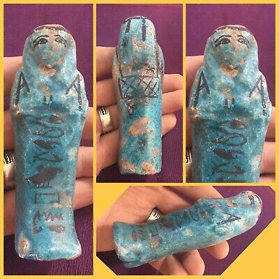 Rare ancient Egyptian blue faience Shabti , c664-332 bc .