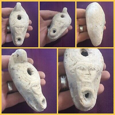 Rare ancient authentic Egyptian  Terracotta oil lamp . C300 bc