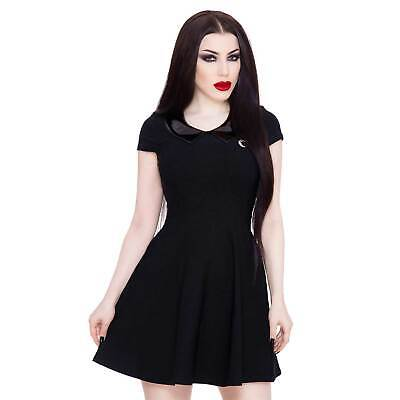 KILLSTAR Darklands Doll Dress Gothic Mini Kleid Schwarz Lack-Kragen Soft Stretch