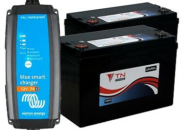Deux 84AH Lithium Iron Phosphate Batteries & Victron Energy 12/7 Chargeur