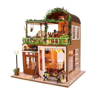 DIY Wooden Toy Doll House Miniature Kit Caravan Dollhouse Cafe LED Lights