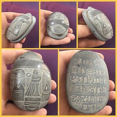 Rare ancient large Luxor stone scarab beetle with hieroglyphics