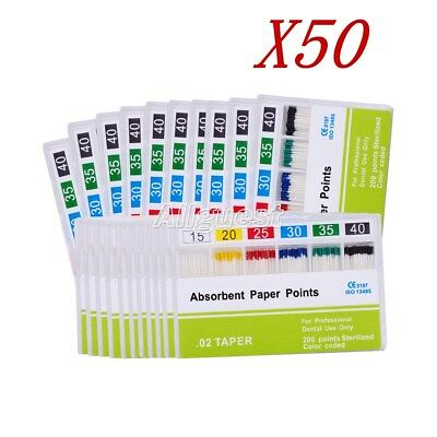 50x Dental Endo Root Canal 0.02 15-40# Absorbent Paper Points 200pc/Box SALE