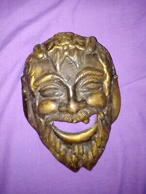 Vintage door brass knocker man face