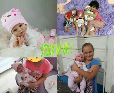"""Reborn Dolls Soft Silicone 22"""" Birthday Gifts Cute Girl Doll Realistic Toddler"""