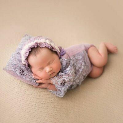 Newborn 3 Pcs/set Photography Suits Baby Photo Props Infants Lace Cap Pillow Set