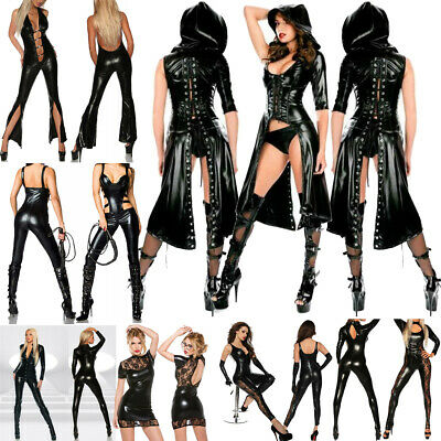 Women's Sexy Zipper PVC Leather Cool Catsuit Jumpsuit Playsuits Leotard Clubwear