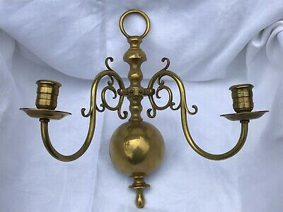 Victorian Heavy Large Brass Wall Mounted Two Branch Candelabra - Statement Piece