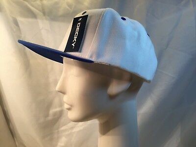 Decky 2 Tone Flat Bill Snap Back Baseball Cap one size 6 panel White Blue RRP£26