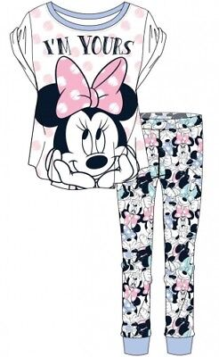 Disney Minnie Mouse Ladies Women Girls Long Pyjama Set 8-10 12-14 16-18 20-22