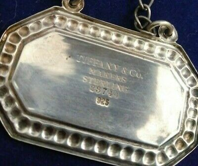 Authentic Tiffany & Co Sterling Silver Decanter Bottle Tag Liquor Label Vintage