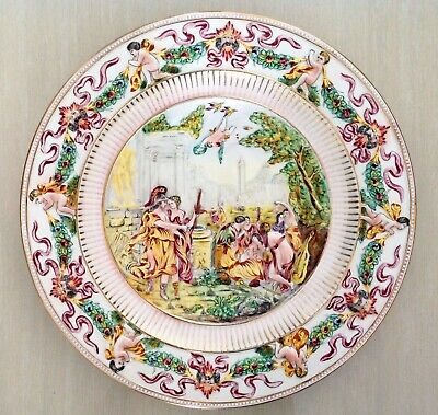 GILDED CAPODIMONTE ITALY LARGE  WALL HANGING PLATTER BOWL 39cms signed B CELLINI