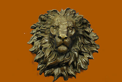 Signed Original Guardian of the Plains Bronze of a Lion Head Bust - for Wall Art