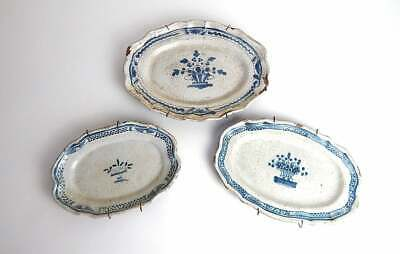 3 Antique French 'Cul Noir' Platters Late 1700s to early 1800s Heavy Hand Paint