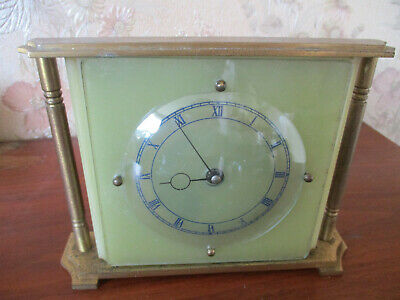 Art Deco 1930S Smiths Onyx/Brass Mantle Clock 16 Inches Across