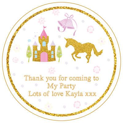 UNICORN HEAD PERSONALISED GLOSS BIRTHDAY PARTY BAG BOX STICKERS SWEET CONE SEALS