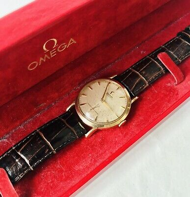 Lovely Vintage Omega Tiffany & Co 14K Yellow Gold Mens Wristwatch, C1954