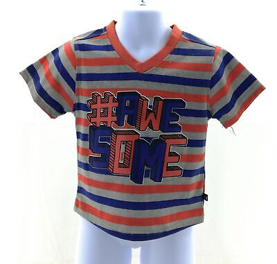 City Ink Shirt Boys Infant Size 18 Months Short Sleeve Orange Gray Blue Striped