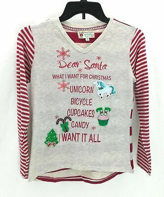 Poof Girl Girls Christmas Long Sleeve Ivory and Red Shirt Casual Size Large
