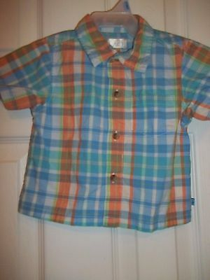 The Childrens Place Boys Blue Plaid Button Down Short Sleeve Shirt - Size 12 mo
