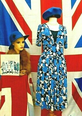 Retro Vintage 1940`s wartime style Land girl floral  tea / day dress size 14