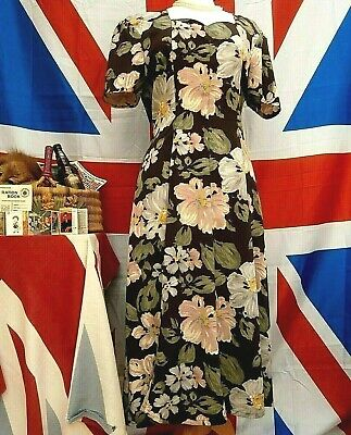 True Vintage 1940`s Wartime Land girl style tea dress size 14 CHARLOTTE HALTON