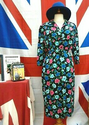 Vintage Retro 1940`s wartime style Landgirl Home front floral tea dress size 12