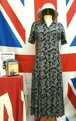 Retro Vintage 1940`s Wartime Land girl Homefront style tea dress size 12