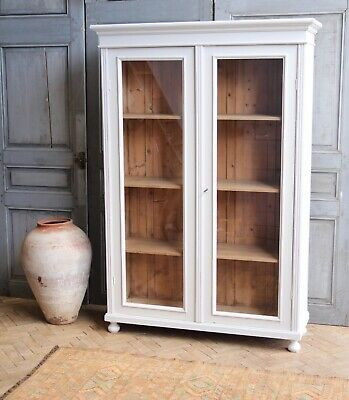 Vintage Antique Painted Larder Linen Press Fully Glazed Cupboard Armoire Cabinet