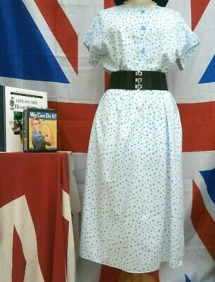 Retro Vintage 1940`s wartime style Land girl polka dot tea / day dress size 16
