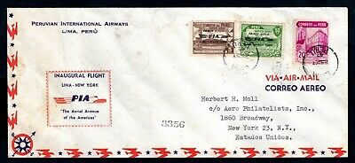 Peru - 1947 Airmail Cover - Inaugural / First Flight Lima to New York